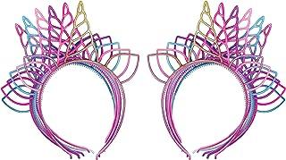 إكسسوار شعر للفتيات بتصميم وحيد القرن بألوان قوس قزح من جليتيري