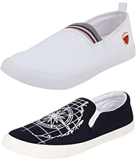 Chevit Men's Combo Pack of 2 Graphic Printed Loafers & Moccasins (Casual Shoes)