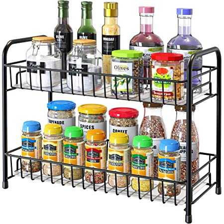 Spice Rack Organizer for Countertop, 2-Tier Metal Spice Organizer Standing Rack Shelf Storage Holder with Shelf Liner for Kitchen Cabinet Pantry Bathroom Office, Black