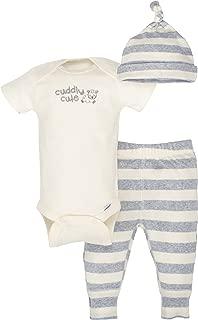 GERBER Baby Boys' 3-Piece Organic Onesies Bodysuit, Pant and Cap