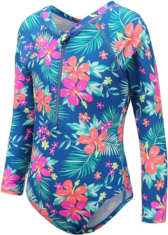Moon Tree Girls One Piece Swimsuits Long Sleeve Rash Guard Zipper Front Bathing Suit UPF 50+