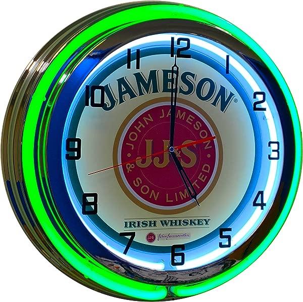 詹姆森威士忌霓虹灯时钟 19 英寸直径双霓虹灯绿色和白色霓虹灯管