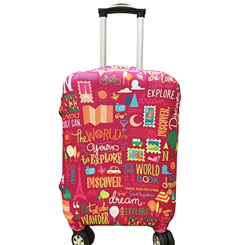 4 Size Red Train Printed Business Luggage Protector Travel Baggage Suitcase Cover