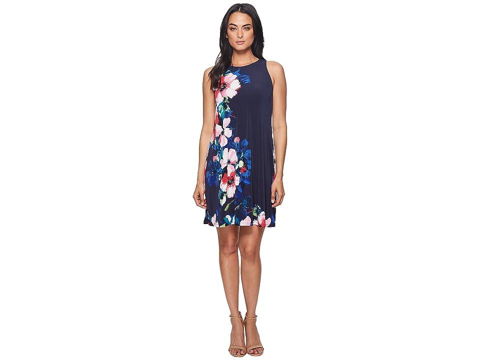 LAUREN Ralph Lauren Suzan Windell Floral Matte Jersey Dress (Lighthouse Navy/Pink/Multi) Women