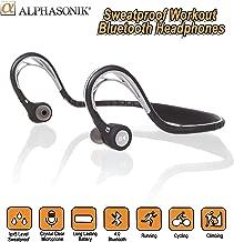Alphasonik ASE300BT Bluetooth Headphones, V4.0 Wireless Sport Headphones, Sweatproof Running Headset with Built in Mic for Workout Exercise IPX5 SplashProof, Ergonomically Designed for Extra Comfort