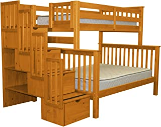 Bedz King Stairway Bunk Beds Twin over Full with 4 Drawers in the Steps, Honey