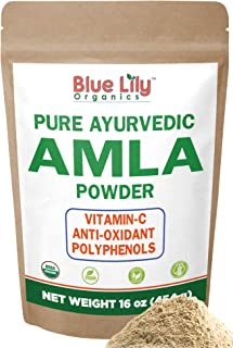Blue Lily Organics Amla (Amalaki/Indian Gooseberry) Fruit Powder. 1 lb (16 oz)-100% Pure, Organic. Antioxidant, Natural Vitamin C Powerhouse. Digestion, Skin, Hair. Bulk Stand-up Pouch.