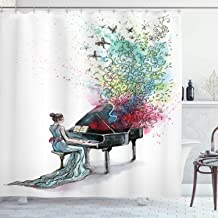 Ambesonne Music Decor Collection, Grand Piano Music Butterflies Ornamental Pianist Swirls Vintage Image Pattern, Polyester Fabric Bathroom Shower Curtain, 75 Inches Long, Teal Green Red