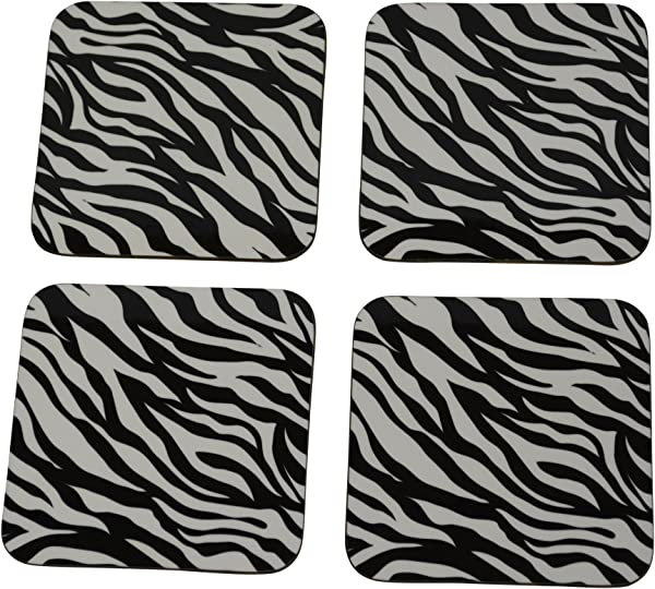 Decorative Zebra Print Drink Coaster Set Gift Home Kitchen Bar Barware Black White Designer