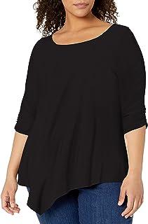 Star Vixen Women's Plus-Size Elbow-Cinch sleeve Hanky Hem Top Blouse