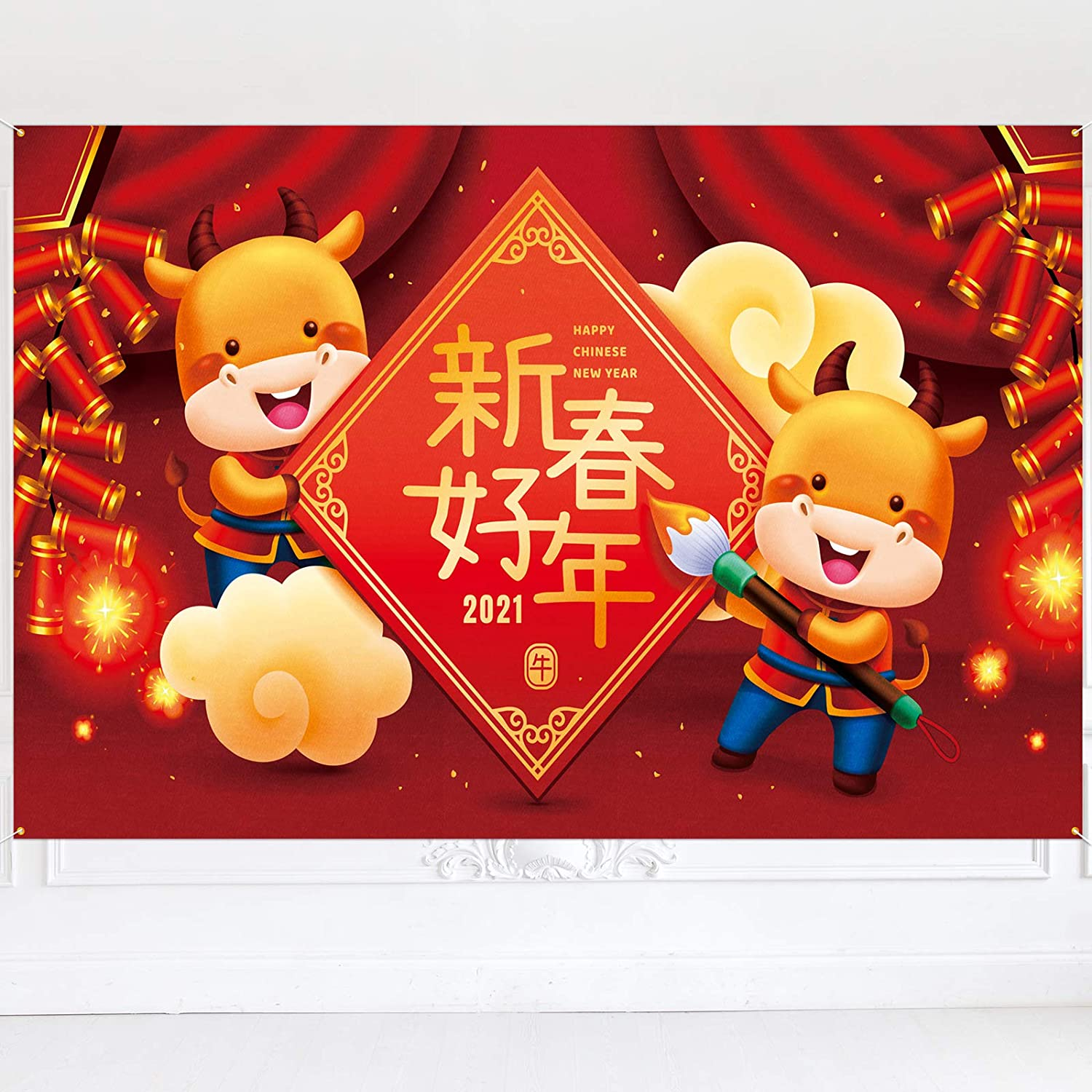 Alternative dealer PAKBOOM Chinese New Year Ox 2021 Banner Oakland Mall Background - Sp Backdrop
