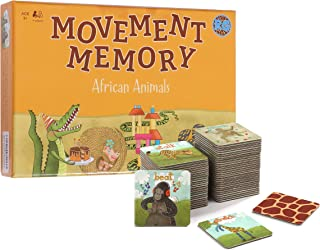 Movement Memory Game for Toddlers & Kids – Educational Matching Game w/ African Animals - Memory Card Game with 28 Sets - ...