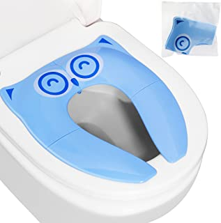 Firares Upgrade Folding Large Non Slip Silicone Pads Travel Portable Reusable Toilet Potty Training Seat Covers Liners with Carry Bag for Babies, Toddlers and Kids, Blue