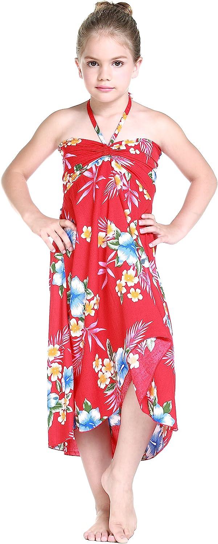 Girl Hawaiian Halter Dress in Hibiscus Red