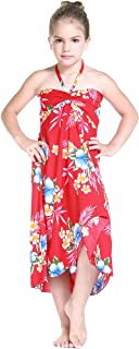 Girl Hawaiian Halter Dress in Hibiscus Red