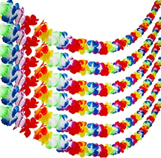 Aneco 6 Packs Colorful Hawaiian Luau Tropical Flower Lei Garland Party Decorations Hawaiian Tropical Party Supplies ,10 Feet Each