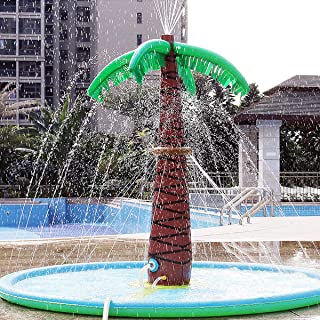LEPOWERP Sprinkle Splash Palm Tree Pad Water Play Mat, Inflatable 70'' Water Play Spray Mat Toy Outdoor Backyard Party Sprinkler for Kids Summer Gift