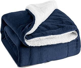 Bedsure Sherpa Fleece Blanket Queen Size Navy Blue Plush Throw Blanket Fuzzy Soft Blanket Microfiber