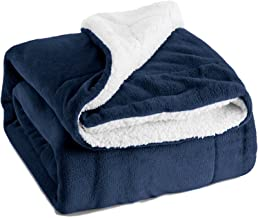 Bedsure Sherpa Fleece Blanket Queen Size Navy Blue Plush Throw Blanket Fuzzy Soft Blanket Microfiber