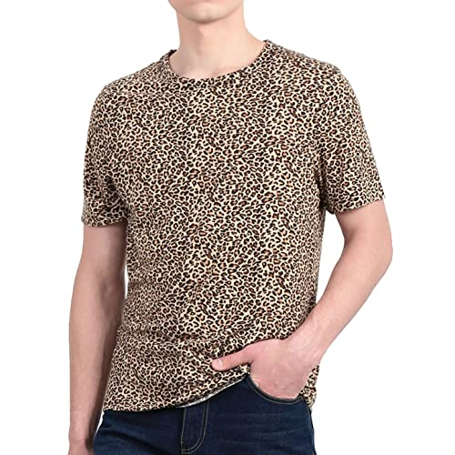 baf21b8691 uxcell Men Short Sleeve Round Neck Leopard Print T Shirt