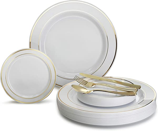 OCCASIONS 600 Pcs Set 120 Guest Wedding Disposable Plastic Plate And Silverware Combo Set White Gold Rim Plates Gold Silverware