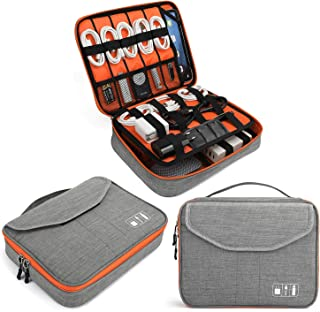 Electronics Bag, Jelly Comb Electronic Accessories Travel Cable Organizer Waterproof Cord Storage Bag for Cables, iPad (Up to 11''),Power Bank, USB Flash Drive and More-(Orange and Gray, 11in)
