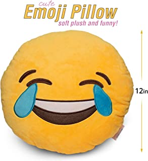 "briteNway Large 14"" Emoji Cute Pillow Tears of Happiness Face - Laughing Joy Yellow Stuffed Soft Plush and Funny Set of All Collection - Perfect Fun Item for All Ages"