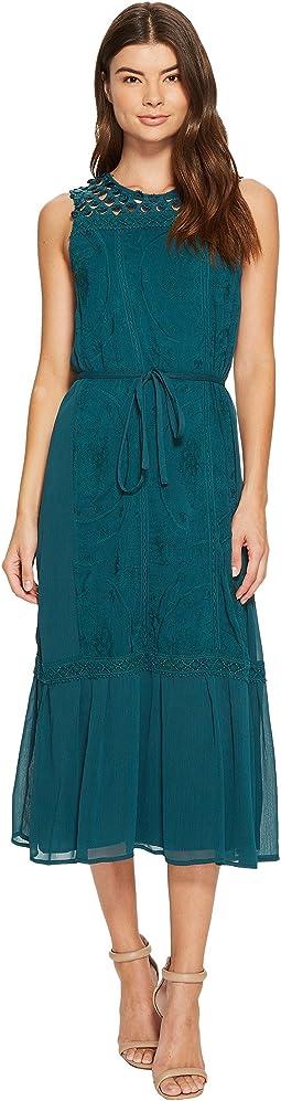 CATHERINE Catherine Malandrino - Embroidered Tiered Midi Dress
