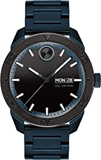 Movado Bold, Ionic Plated Blue Steel Case, Black Dial, Blue Steel Bracelet, Men, 3600607
