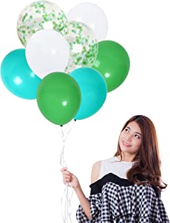 Mint Green Confetti Balloons and Green White Turquoise Balloons Pack of 42 Party Kit for Jungle Birthday Baby Shower Backdrop Decorations