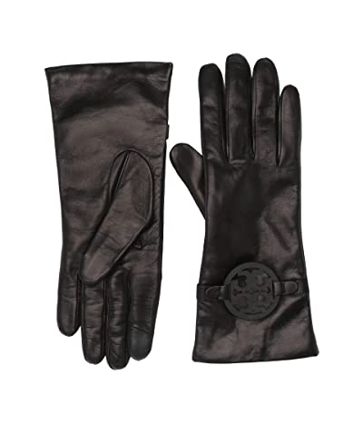 Tory Burch Miller Leather Gloves (Black) Over-Mits Gloves