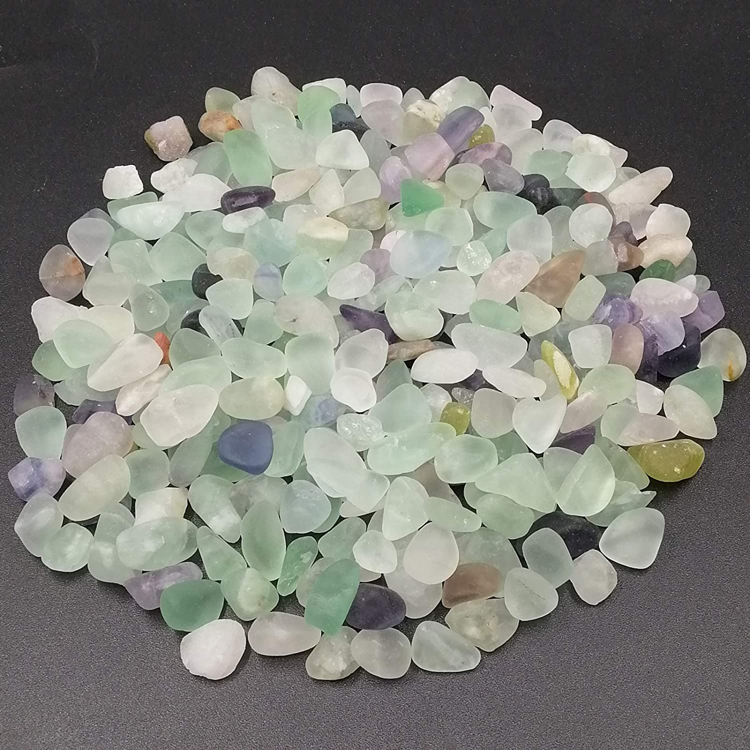 EMiEN 1LB Fluorite Tumbled Chips Stone Crushed Crystal Quartz Pieces Irregular Shaped Stones for Aquarium Substrate, Jewelry Box,Glass Bottle, Plant,Wedding,Home Decoration (Mix Color)