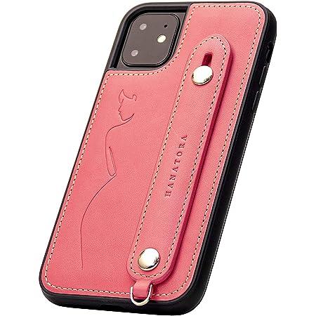 【HANATORA】 iPhone11 ケース イタリアンレザー スマホケース 落下防止 耐衝撃 スタンド機能 本革 ハンディベルト ハンドメイド ストラップホール ストラップリング ギフトにも最適品 Fleur ピンク レッド 桜 赤 サクラ GH-11-Red