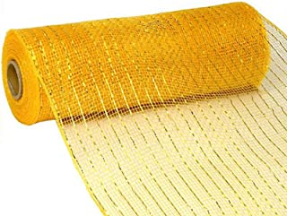 10 inch x 30 feet Deco Poly Mesh Ribbon - Metallic Yellow Gold: RE130153