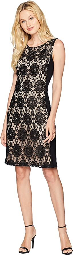 Medallion Lace Jersey Combo Sleeveless Dress