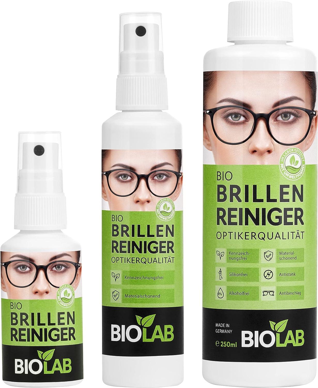 BIOLAB Bio - Limpiador de gafas, paquete ahorro 400 – Pulverizador de 50 ml, 100 ml más botella de recarga de 250 ml, spray limpiador de gafas para limpieza de gafas, sin silicona y sin alcohol