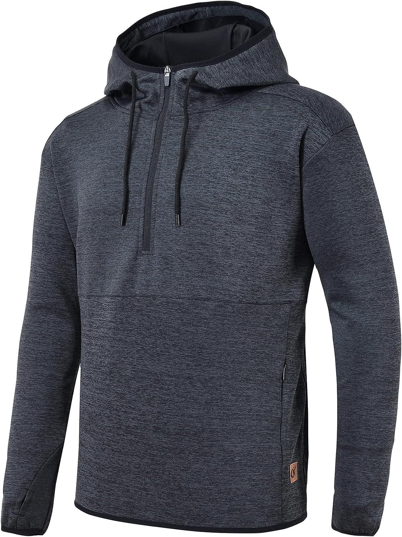 Men's Pullover Hoodies 1/4 Zip Long Sleeve Drawstring Hooded Sweatshirts with Zipper Pocket for Men Sport