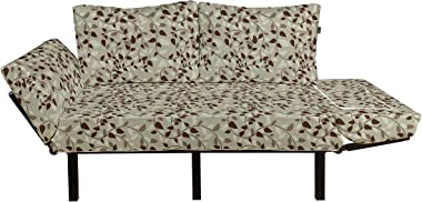 Lunarable Leaf Futon Couch, Pattern Vines Leafage Nature Curvy Branches Plants Garden Floral Illustrated Art, Daybed with Met