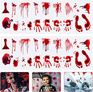 Halloween Decorations Crime Scene Party,Halloween Window Decals Wall Stickers Decor, Bloody Handprint Footprint Horror Zombie Party Decorations Supplies 2 Sheets.