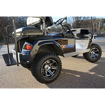 "EZGO TXT/Medalist 1994-2001.5 ELECTRIC Golf Cart Drop Axle Lift Kit & 12"" TERMINATOR Golf Cart Wheels and 23"" All Terrain Golf Cart Tires Combo - Set of 4"