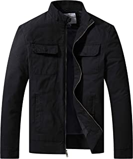 WenVen Men's Cotton Canvas Lightweight Casual Military Jacket