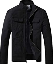 WenVen Men's Cotton Spring Lightweight Casual Army Military Windbreaker Jacket