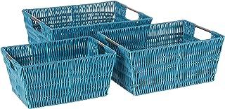 Whitmor Rattique Storage Baskets Set of 3, Berry Blue