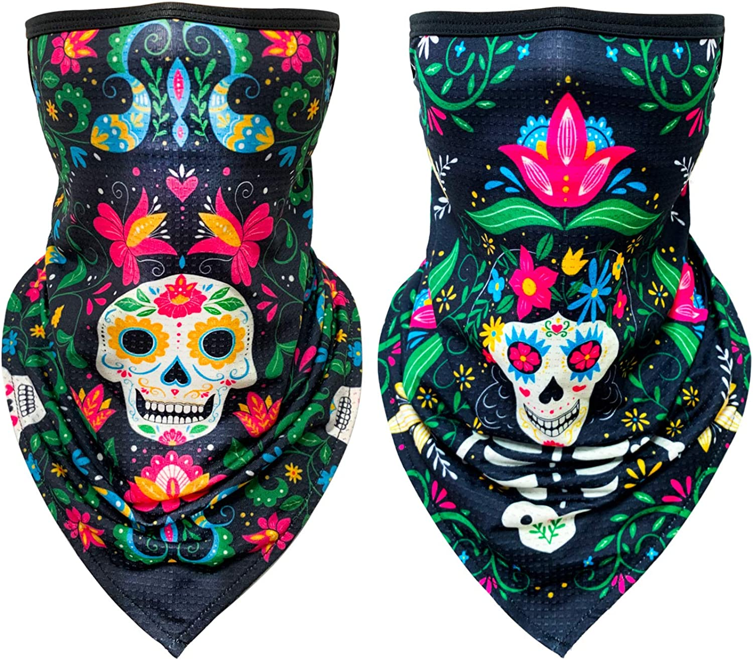 Kids Bandanas Face Mask with Ear Loops 2PCS, Neck Gaiter, Back to School Scarf