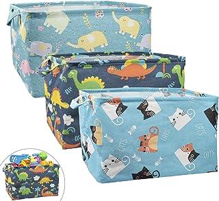 MOCOLOM Lot de 3 paniers de rangement rectangulaires pliables en toile avec poignées, boîte de rangement étanche pour vête...
