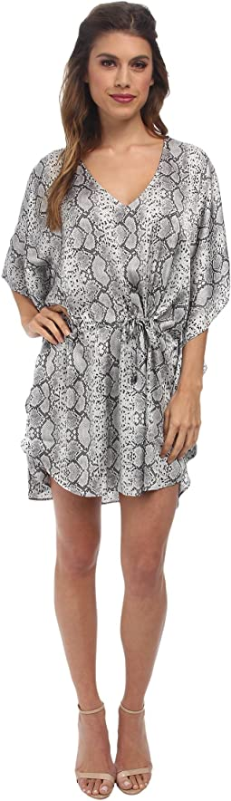BST1324 Drawstring Reptile Skin Beach Tunic