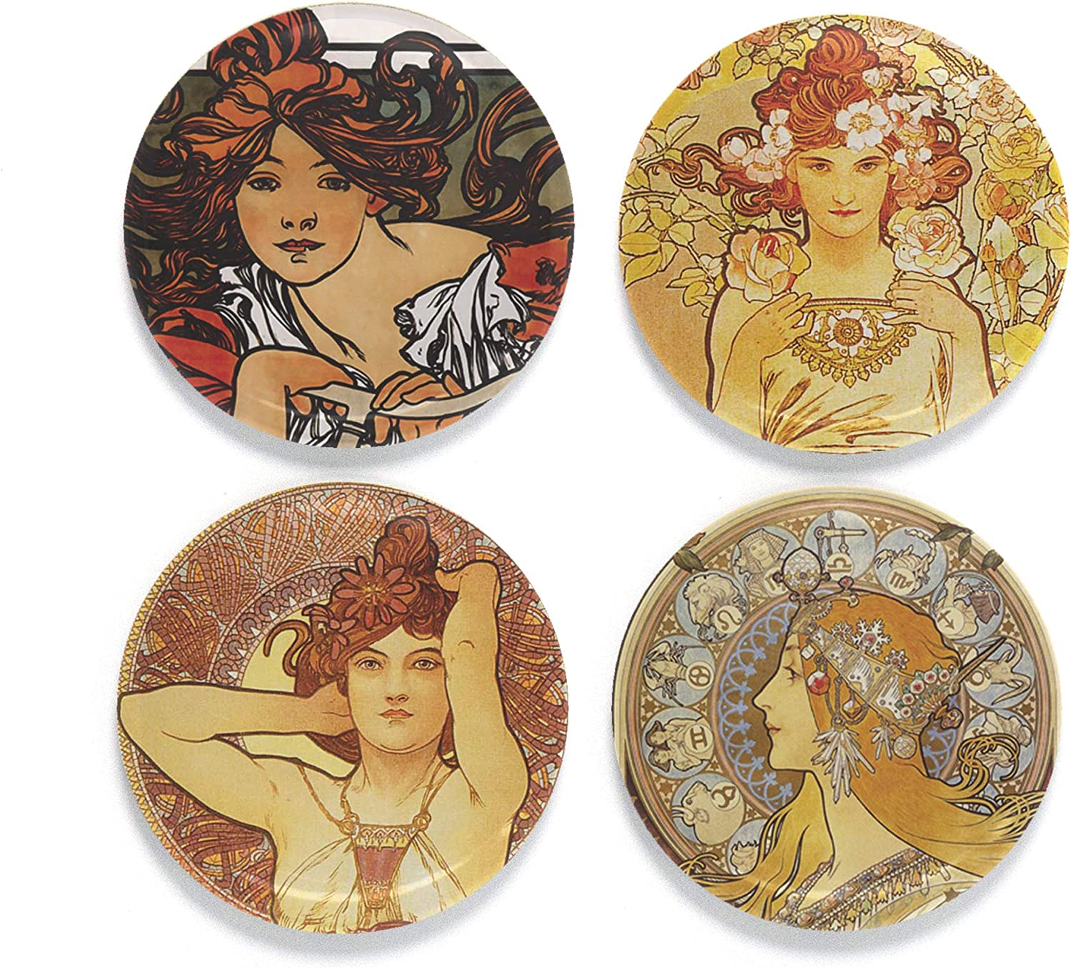 Buttonsmith Best Fees free!! of Mucha Magnet Magnets Set 4 1.25