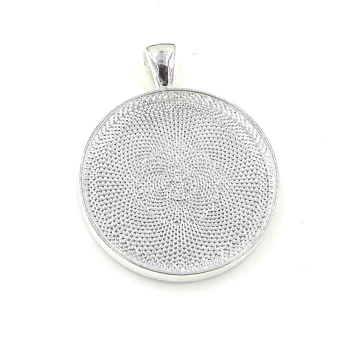 20 Deannassupplyshop Circle Pendant Trays - Silver Color - 30mm - Pendant Blanks Cameo Bezel Settings Photo Jewelry - Custom Jewelry Making