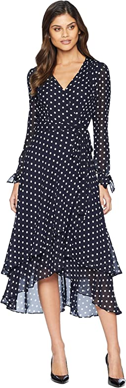 Long Sleeve Dot Wrap Dress