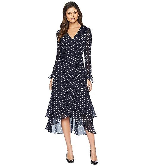 Betsey Johnson Long Sleeve Dot Wrap Dress At 6pm